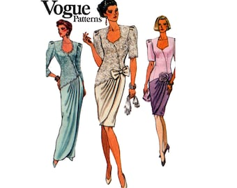 Vogue 8061 Womens Mock Wrap Evening Dress Draped Maxi Gown 90s Vintage Sewing Pattern Size 8 10 12 Bust 31 1/2 32 1/2 34 inches UNCUT F Fold