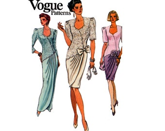 90s Mock Wrap Evening Dress Pattern Vogue 8061 Draped Maxi or Regular Length Gown Size 8 10 12 Bust 31 1/2 32 1/2 34 inches UNCUT F Folds