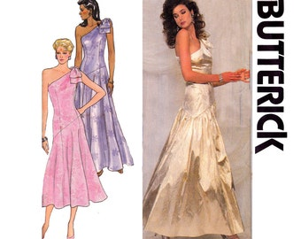Butterick 4383 One Shoulder Maxi Prom Formal Cocktail Dress 80s Vintage Sewing Pattern Size 12 14 16  Bust 34 36 38 inches