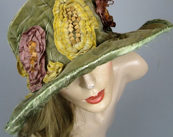 1920s Flapper Cloche Hat Paris New York ~ Velvet and Silk 20s Hat with Wood Beaded Ruched Fabric Decoration