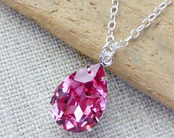 Pink Swarovski Crystal Necklace, Rose Pink Teardrop Sterling Silver Necklace, Bridesmaid Jewelry, Crystal Pear Drop, Gifts, Rhinestone
