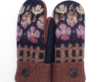 Wool Mittens from Recycled Felted Sweaters Fleece Lined Navy, Brown and Light Purple Flowers with Fence Design