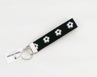 Soccer Key Chain Soccer Gift Keychain Key Fob Black and White Key Ring Key Holder Fabric football Key Wristlet Stocking Stuffer small gift