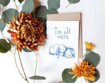 Letterpress Bunny Ears Sympathy Card