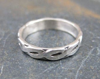Hammered Celtic Scroll - Sterling Silver Midi Finger Ring - Small Band Size 1.5