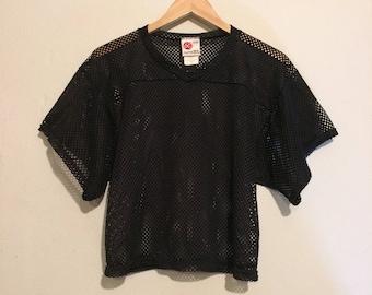 Black Mesh V-Neck Cropped Jersey mt12146