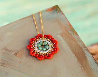 Bloom Necklace in Gold, Red, Coral and Turquoise