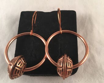 Copper Hoop Earrings with Antique Copper Accent Beads on handmade Copper Copper Ear Wires 1.75 Inches Long 1 Inch Wide