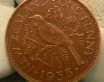 New Zealand - Large Bronze Bird Coin 1955