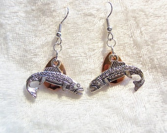 Fish Earrings, Copper Lure Earrings, Silver Salmon Charm Earrings, Fishing Enthusiast Earrings, Outdoor Sport Earrings, Clip ons Available