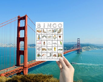 San Francisco, Travel Bingo - Printable Travel Game, Digital Download Game Card, California Travel Gift, City Explore