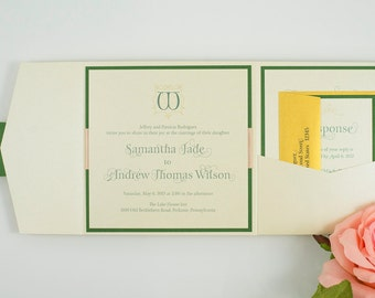 Ribbon-Banded, Double-Layered, Square, Pocket Invitation Suite