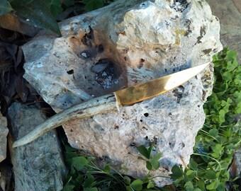Brass and Deer horn knife