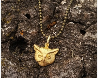 Owl Necklace Solid Raw Brass Antiqued Brass Chain Woodland Spirit Animal Familiar Wisdom Knowledge Teacher 7th Anniversary Charm Delicate