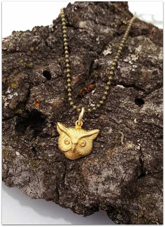 Owl Necklace Solid Raw Brass Antiqued Brass Chain Woodland Spirit Animal Familiar Wisdom Knowledge Teacher 7th Anniversary Charm Delicate