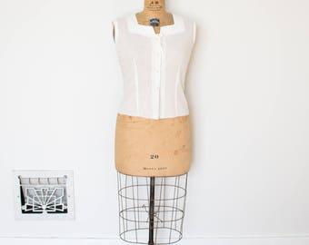 Vintage 1950s Blouse - 50s White Shirt - The Helen