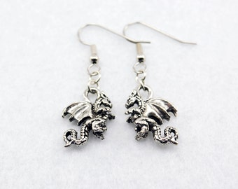 Dragon Earrings in Silver - Harry Potter Jewelry, Game of Thrones Jewellery, Hobbit, Smaug, Fantasy, Renaissance Fair, Cosplay, DnD