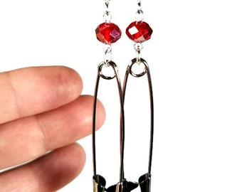 Solidarity Earrings, Safety Pin Earrings, Statement Jewelry, Red Dangle- Large