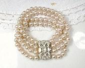 1940s Antique Pearl Rhinestone Bracelet, Art Deco Multi Strand Glass Champagne Pearl Bridal Bracelet,Ornate Pave Clasp Vintage Wedding Small