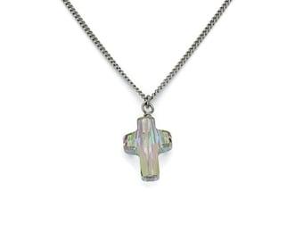 Titanium Cross Necklace Paradise Shine Swarovski Crystal, Swarovski Cross Crystal Pure Titanium Necklace For Sensitive Skin Titanium Jewelry