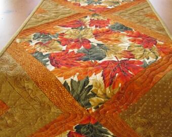 Handmade Quilted Table Runner, Fall Table Runner, Autumn Leaves, Orange Gold Tablerunner, Home Decor, Harvest, Fall Decor, Table Linen