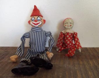 Pair of Mildly Creepy Vintage Plastic Clown Doll Figures