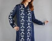 Embroidered Dress, Shirtdress, 70s Dress, Navy, White, Long Sleeve, Mexican Style, Boho, Bohemian, Nashville Dress, Large, FREE SHIPPING