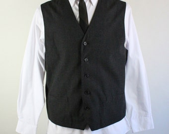 Mens Vest / Charcoal Gray / Suit Vest / Dress Vest / Button Down Vest / Perry Ellis / Size Medium / GoGo Vintage
