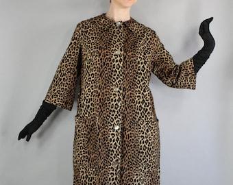 50s Leopard Coat, Spring Cotton Corduroy Long Jacket, 3/4 Sleeve, Pinup, vlv, Viva las vegas, Marilyn Monroe, Hollywood Glamour, Size Large