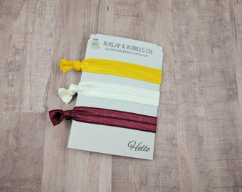Mustard Maroon Cream Elastic Hair Ties, Yoga Hair Ties, Set of 3, Gryffindor Colors