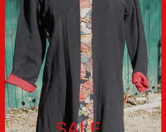 Chinese Style Black Cloth Long Jacket with Red Lining