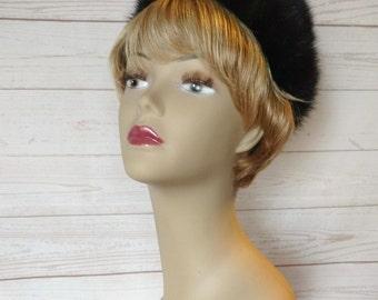 Vintage Mink Hat - Fur Pillbox Hat - Black Fur Hat - 1960s Mid Century Fur Hat - Dark Brown Vintage Hat