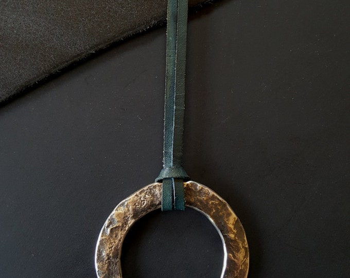 """Hypoallergenic Hand Forged Silver and Blue Pendant Necklace 2.25""""d Solid Stainless Steel Anvil Textured Ring & Blue Leather Strap with Knot"""