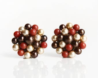 Vintage Brown / Bronze, Sienna, Cream Beaded Earrings ~ Clip on Earrings ~ Retro Costume Jewelry