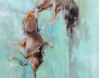 "Original Artwork Painting on Canvas ""Baby Mice"" Oil Painting by Karl Jahnke"