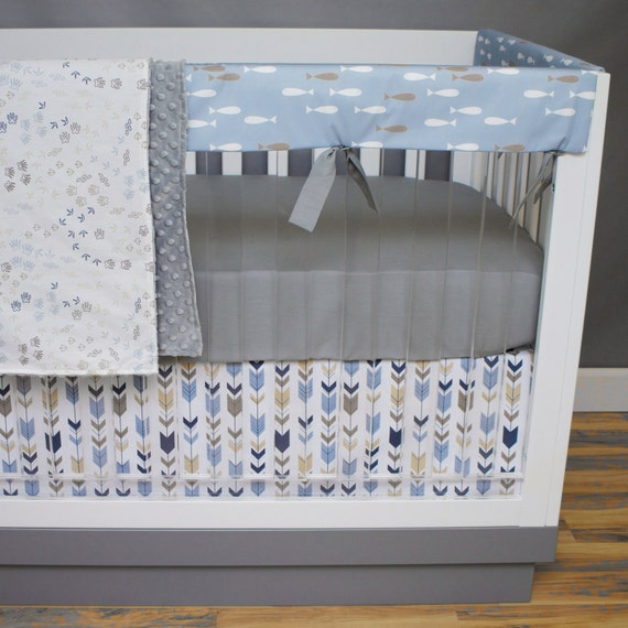Crib bedding fishing bumperless crib bedding baby bedding for Fish crib bedding