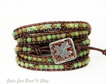 Green Opal 5X Leather Wrap Bracelet, 5X Wrap Bracelet, Maple Leaf button closure, boho chic