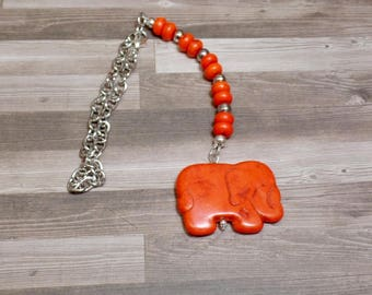 Orange Elephant Rear View Mirror Charm - Car Charm - Howlite Elephant