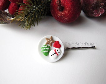 Bobby Pin Miniature Plate with Cookies, Snowman Heart Star and Christmas Tree