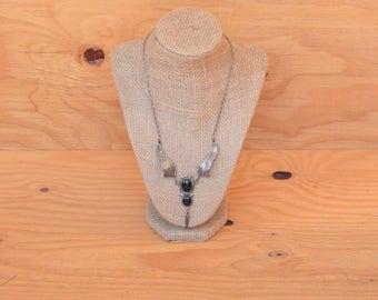 Vintage 70's Beautiful Southwestern Silver & Onyx Vintage Winged Necklace