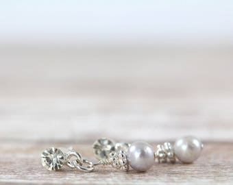 Bridesmaid Earrings Silver Pearls and Rhinestone, Silver Pearl Dangle Earrings, Bridesmaid Jewelry