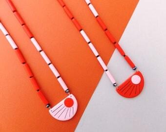 DECO Half Moon Necklace Pink or Orange minimalistic colourful original Art Deco inspired