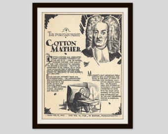 Cotton Mather, Vintage Art Print, Teacher Gift, Salem Witch Trials, New England Puritan, Colonial History Print, Religion, American History