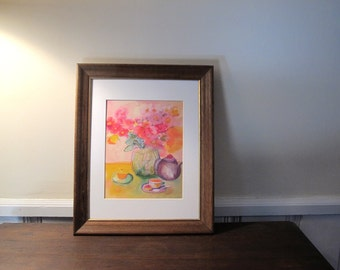 """Reproduction Print of Silk Painting """"Cup of Tea"""" Matted and With Back Board,  11x 14 Mat"""