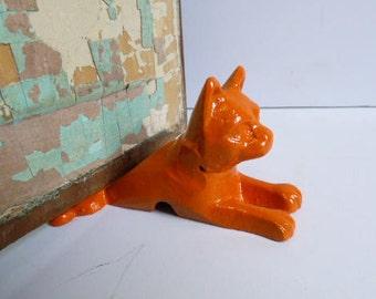Cast iron Cat doorstop Door Wedge orange tabby Feline stopper Kitten