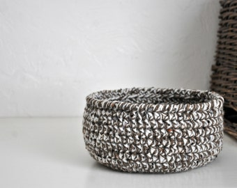 Small Tweed Basket  Catchall Storage Bin Modern Decor Rustic Design Dorm Organizer Back to School