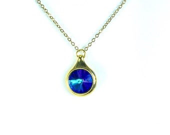 Swarovskil Shappire Blue Crystal Necklace gold Necklace Shappire Pendant Necklace Shappire Blue Crystal Necklace  CLEARANCE