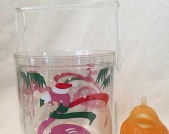 PINK FLAMINGO CHRISTMAS Vintage Lucite Ice Bucket by Pelzman, Mid Century, Lucite Kitcsh, Florida Christmas, Pink Flamingos at Modern Logic