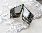 Art Deco Diamonds,Vintage Marcasite & White Mother of Pearl Sterling Silver Art Deco Style Post Earrings by Hollywood Hillbilly