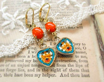 The Happy Romantic,Vintage Micro Mosaic Hearts  Aqua,Yellow and Orange Glass Gems  Assemblage Earrings by Hollywood Hillbilly